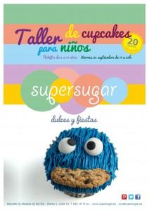 Cartel del taller de decoración de cupcakes para niños
